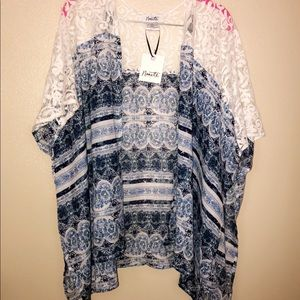 Brand new Blue and white cardigan